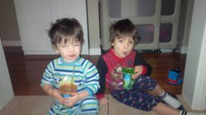 Saturday morning green monster smoothies! (dairy and sugar-free)